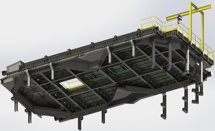 Rendu réaliste modélisation 3D d'une platform charpente métallique