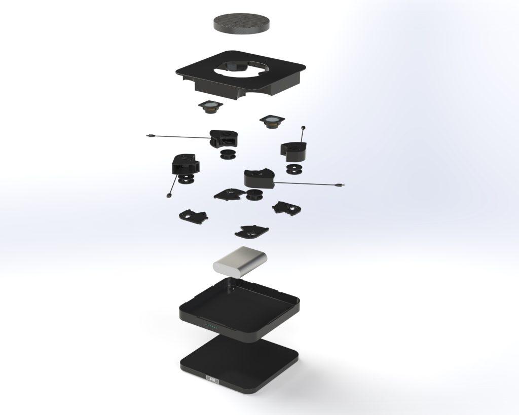 Rendu réaliste modélisation 3D éclatée d'un boitier spéciaux design