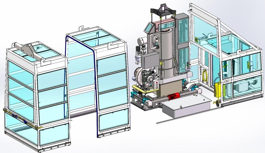 Modélisation 3D CAO Machine spéciale récupération de futs nucléaire
