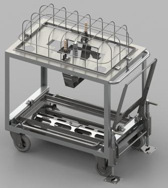 Rendu réaliste modélisation 3D d'un chariot de transport spécial