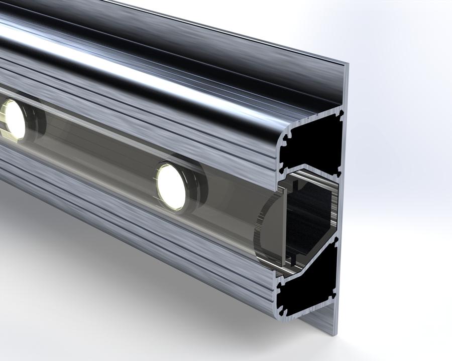 Rendu réaliste modélisation 3D d'un profil spécial en aluminium