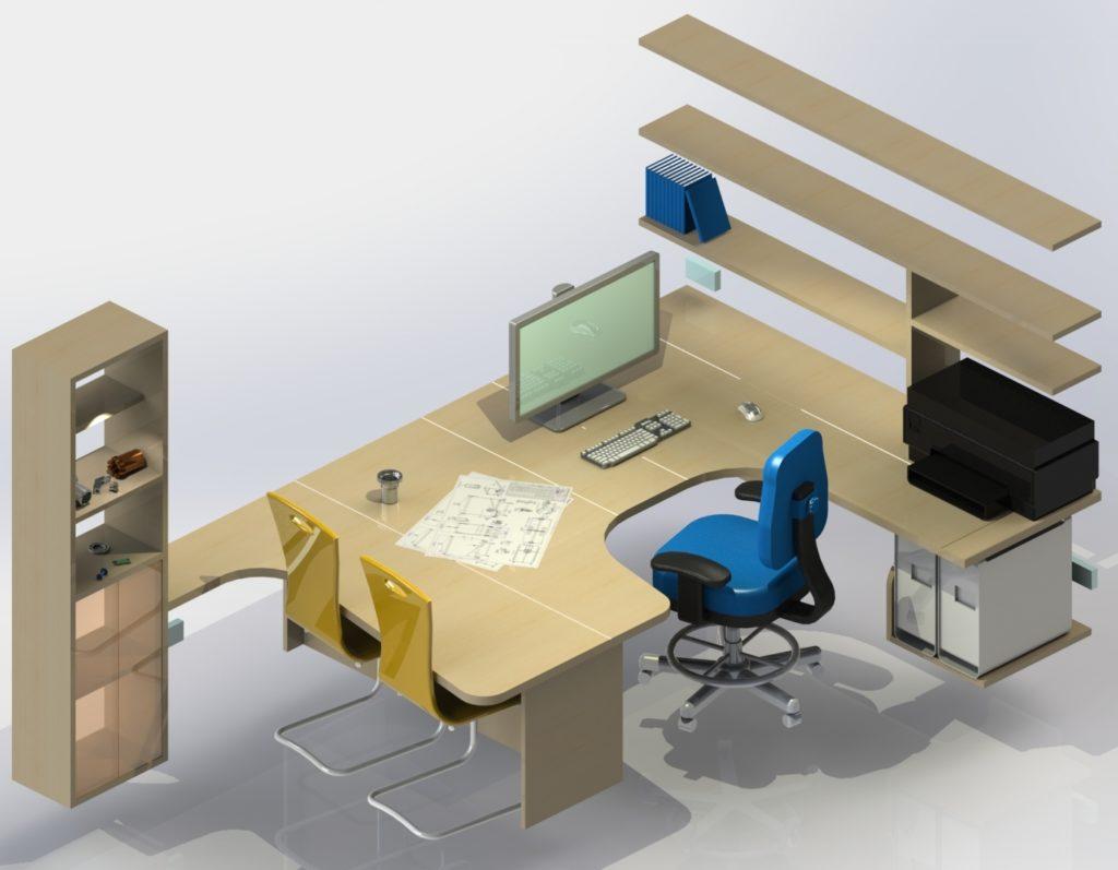 Rendu réaliste modèle 3D d'un bureau