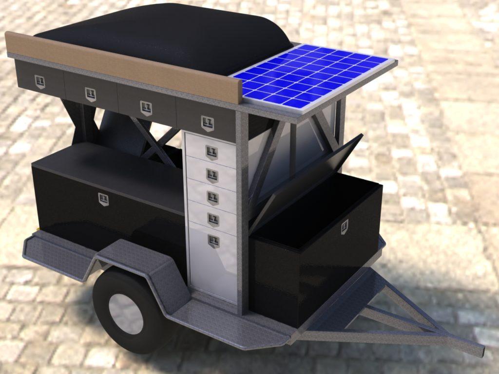 Rendu réaliste modélisation 3D d'une remorque de chantier spéciale