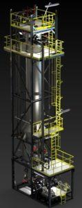 Rendu réaliste modélisation 3D d'un skid de tuyauterie avec pompe et charpente