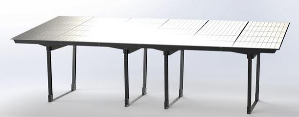 Rendu réaliste modèle 3D d'une ombrière solaire, abris solaire photovoltaïque