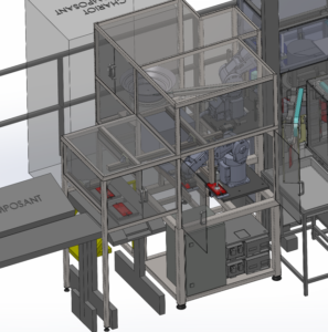 Modélisation schématique 3D d'un poste de travail industriel automatisé
