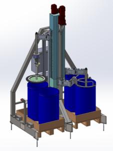 Modélisation 3D d'une Machine spéciale industrielle, chassis en acier inoxydable