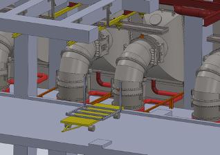 Modélisation 3D schématique d'une phase de travaux de manutention nucléaire