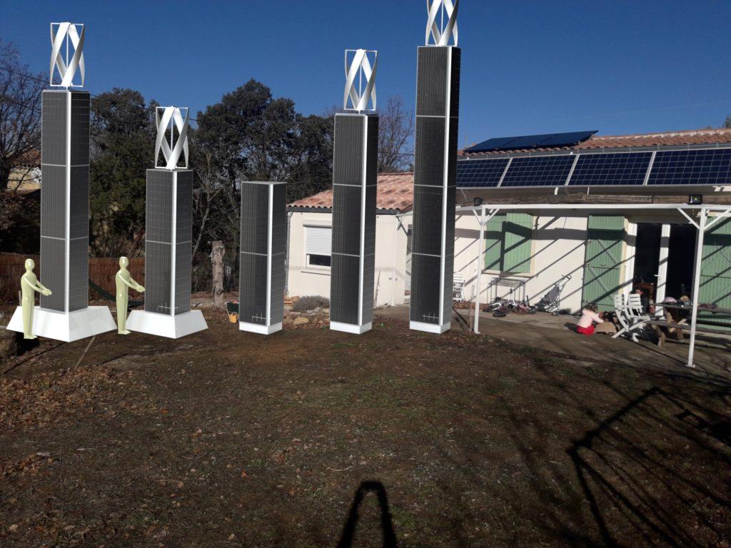 Seretudes Rendu réaliste de Mats solaires de différentes hauteurs, mats de panneaux photovoltaïques