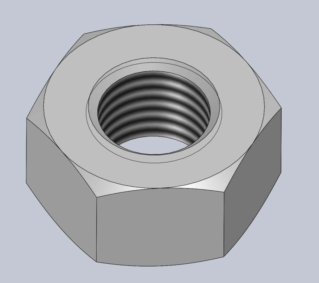 Modèle 3D CAO CAD ECROU HEXAGONAL H