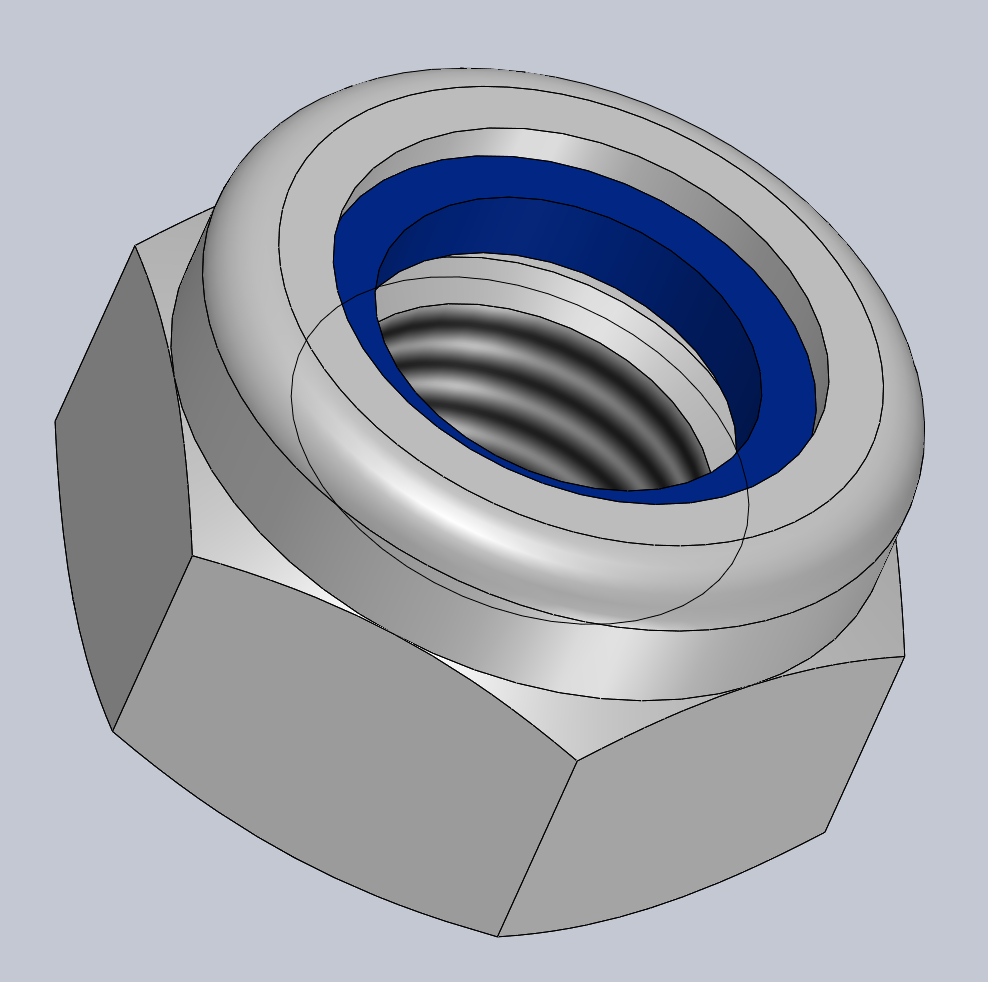 Modèle 3D CAO CAD ECROU FREIN A BAGUE NYLON
