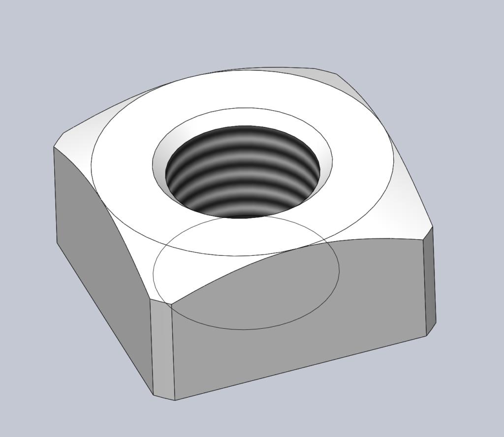 Modèle 3D CAO CAD ECROU CARRE